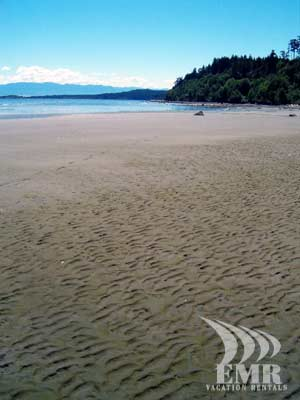 The breathtaking Olympic Mountains of Washington State can be seen here in this photo taken from the beach at Whitty's Lagoon Park